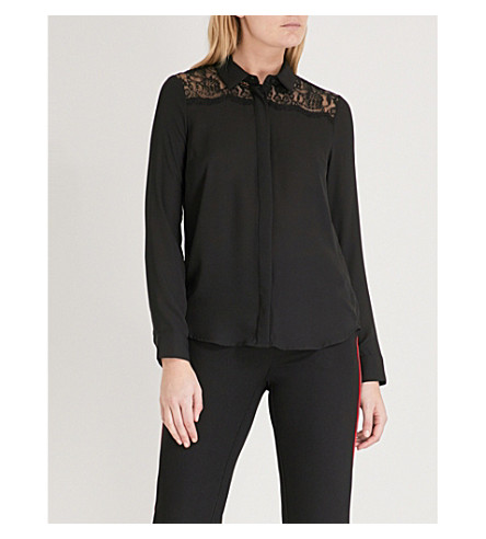 WAREHOUSE Lace-trim crepe shirt (Black
