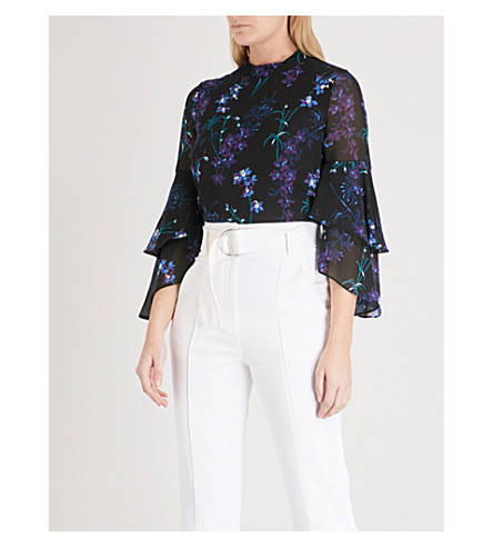 WAREHOUSE Gilly floral-print chiffon top (Black
