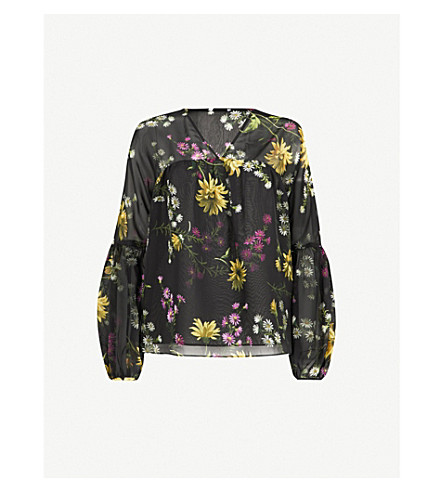 WAREHOUSE Dutch floral-print top (Black