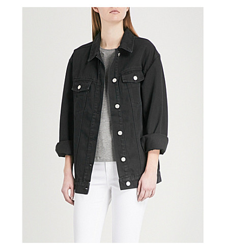 WAREHOUSE Longline denim jacket (Black