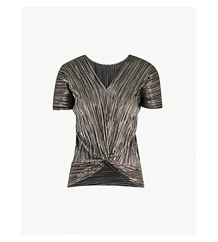 WAREHOUSE Two-way metallic pleated top (Gold