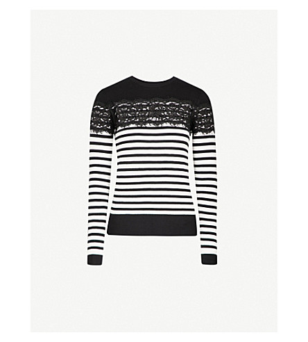 WAREHOUSE Striped lace-panel knitted jumper (Black