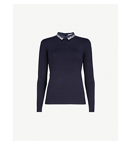 WAREHOUSE Pearl-embellished collar knitted jumper (Navy