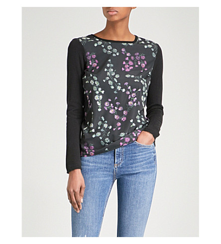 WAREHOUSE Daisy cotton-blend jumper (Black