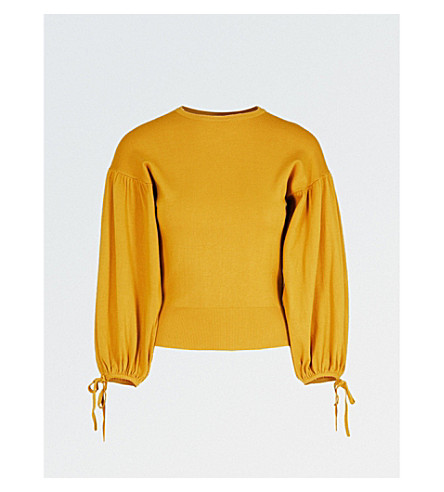 WAREHOUSE Balloon-sleeve knitted jumper (Yellow