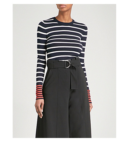 WAREHOUSE Striped knitted jumper (Navy