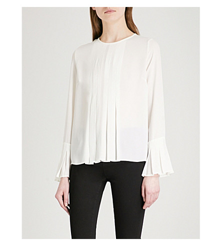 WAREHOUSE Double pleated crepe blouse (Cream