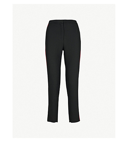 WAREHOUSE 侧条纹绉紧身高腰裤子 (黑色