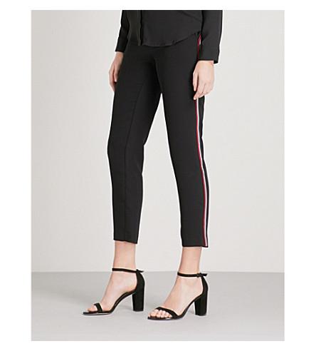 WAREHOUSE 侧条纹绉瘦的高层长裤 (黑色
