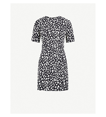 WAREHOUSE Leopard-print crepe mini dress (None