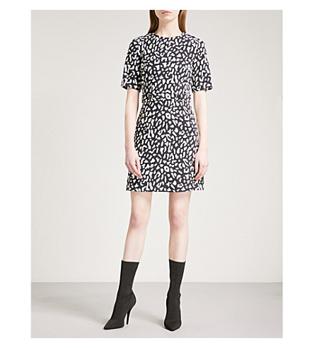 WAREHOUSE Leopard-print crepe mini dress (None