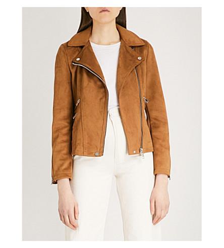 WAREHOUSE Faux-suede biker jacket (Brown