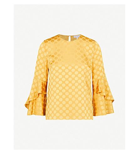 WAREHOUSE Fluted-sleeve polka-dot jacquard top (Yellow