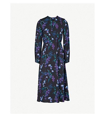 WAREHOUSE Gilly floral-print crepe midi dress (Black