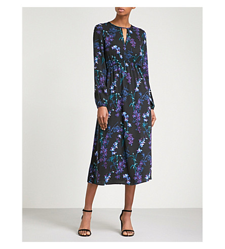 WAREHOUSE Gilly floral-print crepe midi dress (Black