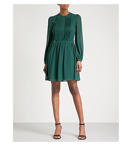 WAREHOUSE 气球袖褶式雪纺迷你连衣裙 (深色 + 绿色