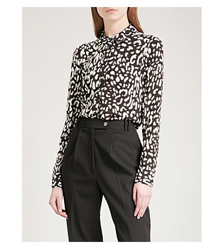 WAREHOUSE Leopard-print woven shirt (Black