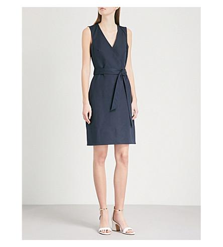 WAREHOUSE V-neck belted cotton wrap dress (Navy