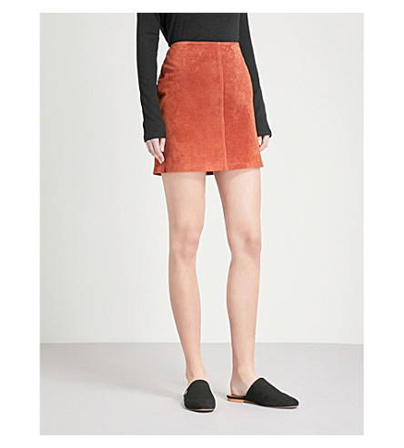 WAREHOUSE Fitted high-rise suede mini skirt (Brown