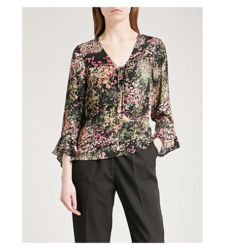 WAREHOUSE Floral-print crepe top (Black