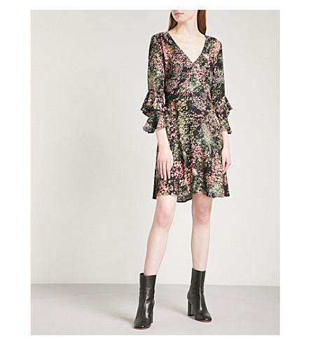 WAREHOUSE Floral-print crepe dress (Black