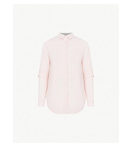 WAREHOUSE Smocked-sleeve pinstriped crepe shirt (Pink