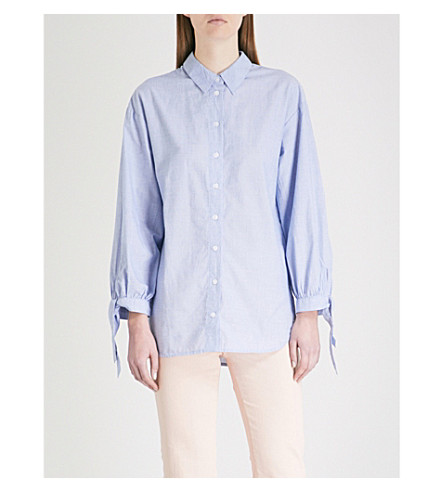 WAREHOUSE Tied-cuff cotton-chambray shirt (Pale+blue