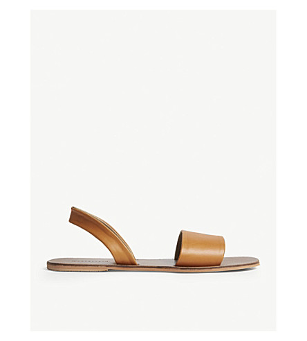 WAREHOUSE Flat leather sandals (Brown
