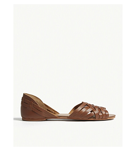 WAREHOUSE Huarache leather sandals (Brown