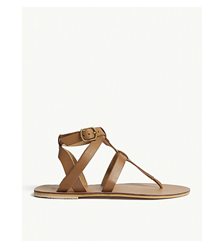 WAREHOUSE Leather T-bar sandals (Brown