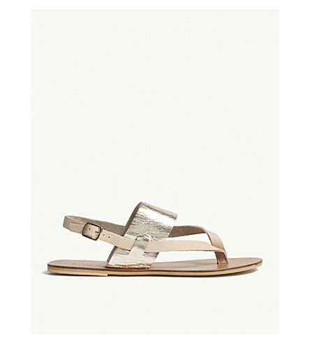 WAREHOUSE Metallic band leather sandals (Silver