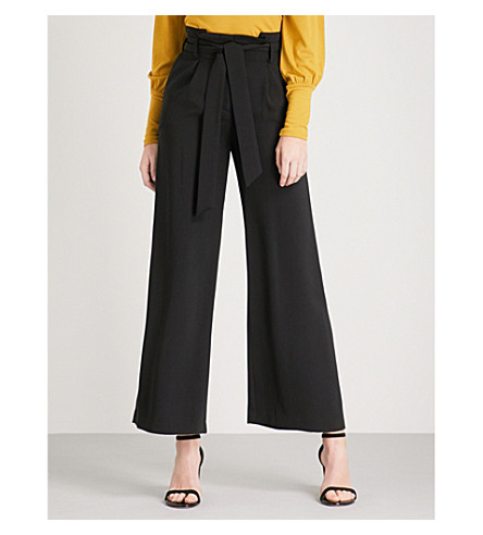 WAREHOUSE Crepe wide-leg high-rise trousers (Black
