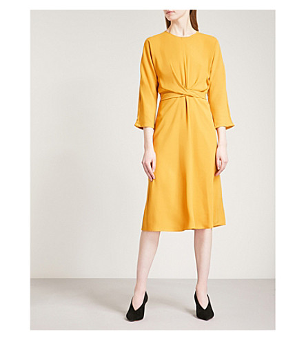 WAREHOUSE Twist-front crepe dress (Yellow
