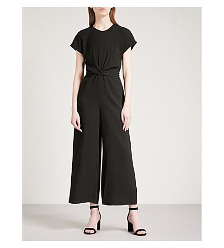 WAREHOUSE Twist-front crepe jumpsuit (Black