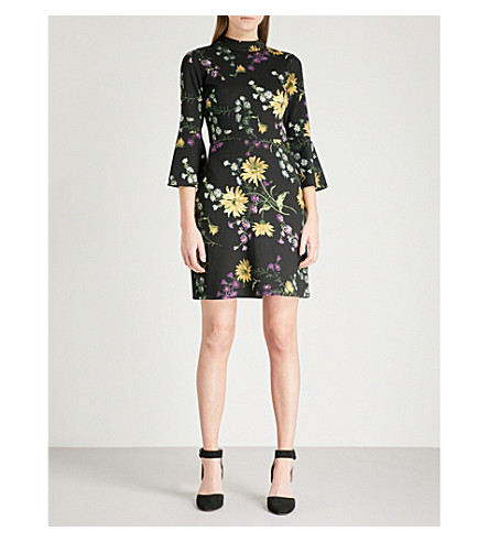 WAREHOUSE Dutch floral-print ponte-jersey mini dress (Black