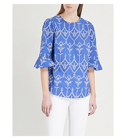 WAREHOUSE Cutwork cotton top (Blue