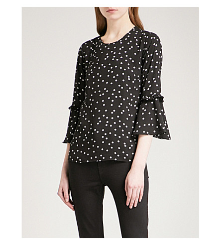 WAREHOUSE Polka-dot crepe top (Black