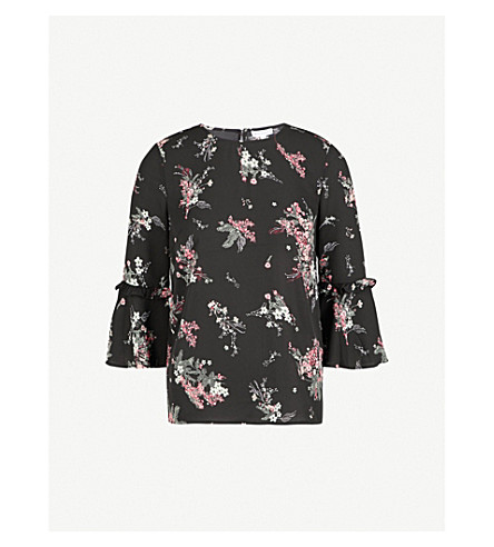 WAREHOUSE Floral-pattern crepe top (Black