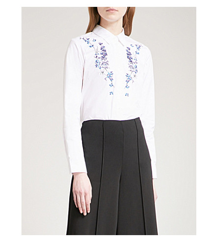 WAREHOUSE Gilly floral-embroidered cotton shirt (White