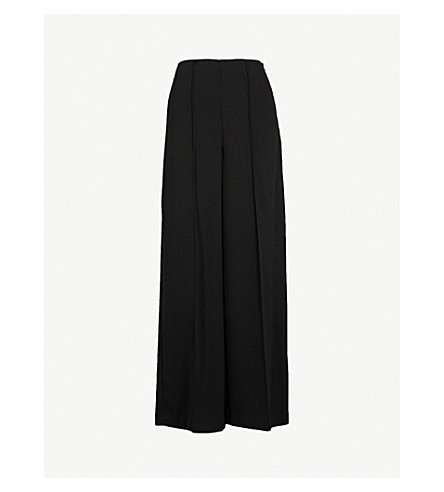 WAREHOUSE Pleated crepe wide-leg trousers (Black
