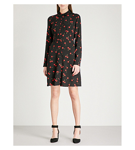 WAREHOUSE Cherry-print crepe shirt dress (Black