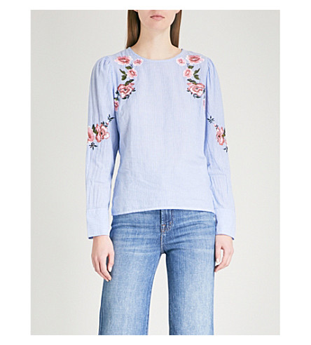 WAREHOUSE Floral-embroidered puff-sleeve cotton top (Blue