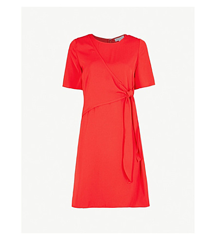 WAREHOUSE Tie-front woven mini dress (Red