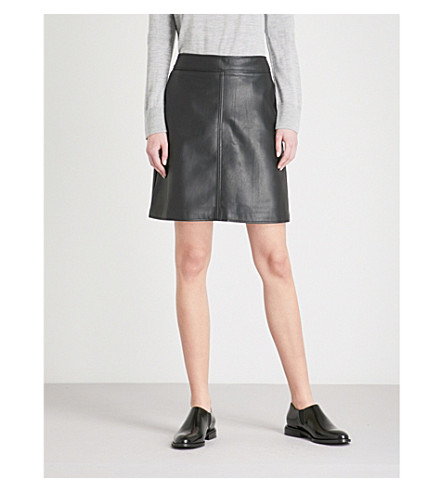 WAREHOUSE A-line faux-leather skirt (Black