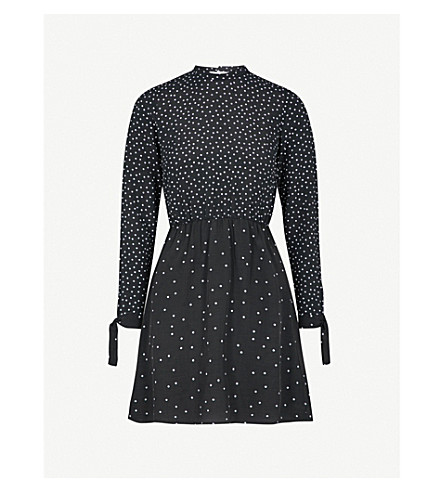 WAREHOUSE Tie-cuff polka dot woven mini dress (Black