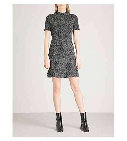 WAREHOUSE Mono Tweed knotted-texture woven dress (Black