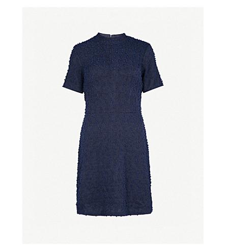 WAREHOUSE High-neck bouclé mini dress (Navy