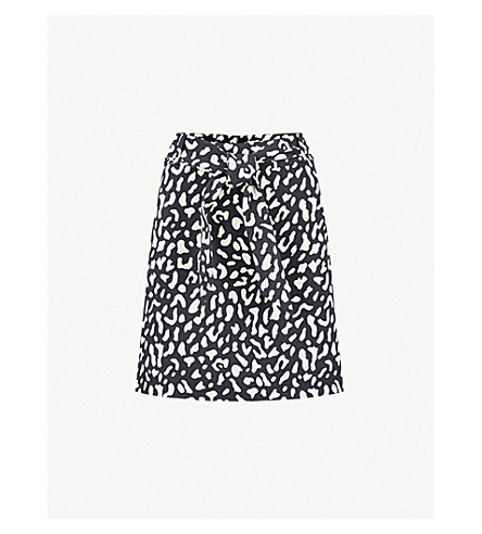 WAREHOUSE High-rise leopard-pattern woven skirt (None