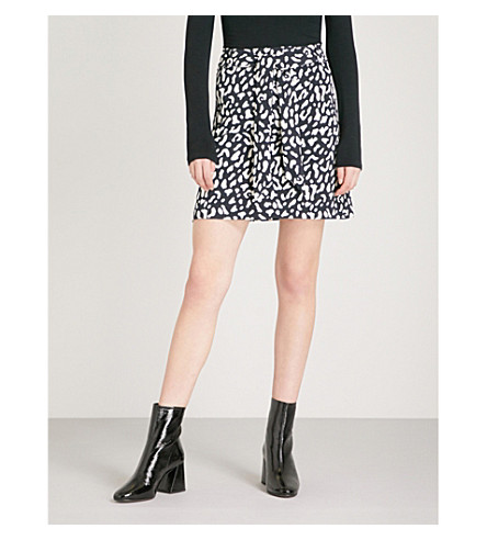 WAREHOUSE High-rise leopard-pattern woven skirt (None