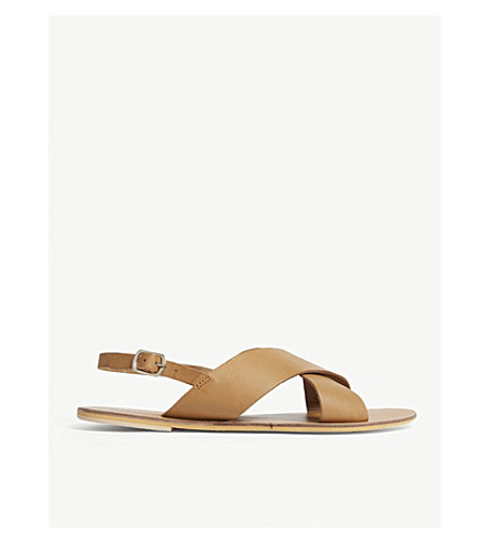 WAREHOUSE Cross front leather slingback sandals (Brown